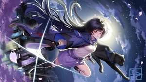 Rating: Safe Score: 46 Tags: animal black_hair boots broken_delusion building cape cat cherry_blossoms city clouds flowers gloves katana long_hair majiang petals red_eyes sky sword tagme_(character) thighhighs weapon User: RyuZU
