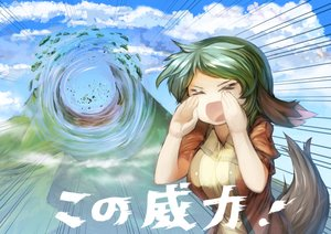 Rating: Safe Score: 46 Tags: animal_ears clouds danbo_(rock_clime) green_hair kasodani_kyouko short_hair tail touhou User: Septentrion_P
