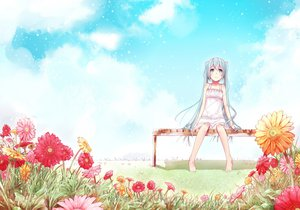Rating: Safe Score: 96 Tags: barefoot blue_eyes blue_hair dress eida@renshuuchuu flowers grass hatsune_miku long_hair sky vocaloid User: FormX
