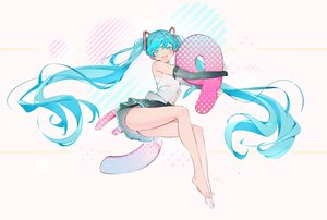 Rating: Safe Score: 31 Tags: aqua_eyes aqua_hair barefoot hatsune_miku headphones long_hair microphone navel rosele skirt twintails vocaloid white User: RyuZU