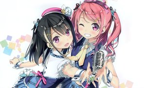 Rating: Safe Score: 160 Tags: 2girls 5_nenme_no_houkago black_hair blush calendar hat headphones kantoku kurumi_(kantoku) microphone original pink_hair purple_eyes ribbons shizuku_(kantoku) short_hair skirt tie twintails white wink User: Wiresetc