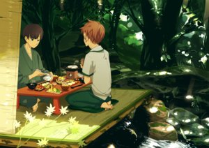 Rating: Safe Score: 10 Tags: all_male barefoot brown_hair drink food forest green_eyes japanese_clothes male original shade short_hair tree twin-mix water User: RyuZU
