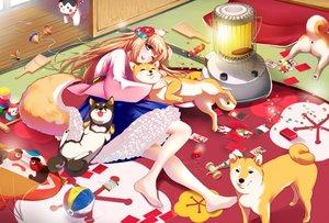 Rating: Safe Score: 19 Tags: animal animal_ears barefoot blonde_hair bow dog doggirl japanese_clothes kimono long_hair original skirt tagme_(artist) tail wink User: BattlequeenYume