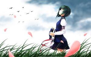 Rating: Safe Score: 83 Tags: animal bird clouds grass green_hair petals ribbons rokuwata_tomoe shiki_eiki touhou User: Maboroshi