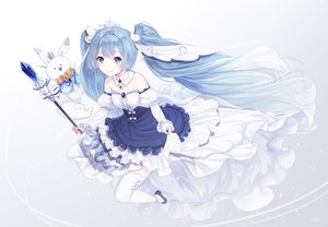 Rating: Safe Score: 72 Tags: animal blue_hair dress hatsune_miku inosia kneehighs long_hair rabbit signed vocaloid yuki_miku yukine_(vocaloid) User: Dreista
