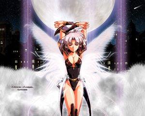 Rating: Safe Score: 58 Tags: angel breasts building city cleavage moon pink_hair short_hair stars urushihara_satoshi wings User: Oyashiro-sama