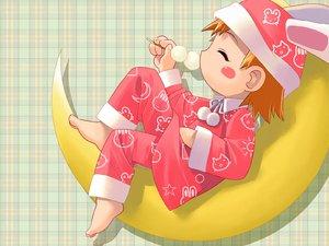Rating: Safe Score: 6 Tags: animal_ears barefoot blush bunny_ears food iuro loli moon orange_hair pajamas User: Oyashiro-sama