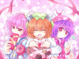 Rating: Safe Score: 16 Tags: animal_ears blush catgirl chen etogami_kazuya fang hat komeiji_satori mystia_lorelei orange_hair pink_eyes pink_hair purple_hair ribbons touhou valentine User: 秀悟