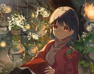 Rating: Safe Score: 56 Tags: black_hair book flowers glasses long_hair omutatsu original red_eyes tree User: RyuZU