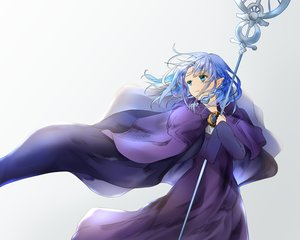 Rating: Safe Score: 41 Tags: ameshiki aqua_eyes blue_hair braids cape dress fate/grand_order fate_(series) medea_(fate) pointed_ears short_hair staff User: otaku_emmy