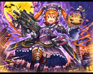 Rating: Safe Score: 65 Tags: animal bat building cake candy city clouds fang food garter_belt gia gloves goth-loli gun halloween headdress katana lolita_fashion long_hair moon night orange_eyes orange_hair original signed sky stockings sword thighhighs twintails weapon User: luckyluna