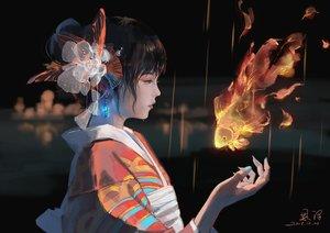 Rating: Safe Score: 79 Tags: animal black black_hair fire fish flowers japanese_clothes kimono original short_hair signed tears xiaobanbei_milk User: RyuZU