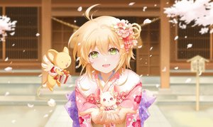 Rating: Safe Score: 96 Tags: animal blonde_hair card_captor_sakura flowers green_eyes japanese_clothes kero kinomoto_sakura mouse petals shangguan_feiying short_hair User: Nepcoheart
