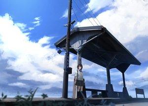 Rating: Safe Score: 49 Tags: clouds grass kneehighs original sakeharasu scenic school_uniform short_hair skirt sky User: FormX