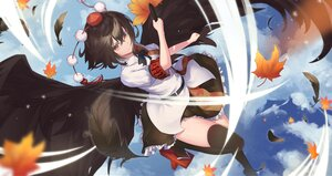 Rating: Safe Score: 55 Tags: black_hair bow clouds fan feathers hat leaves orange_eyes shameimaru_aya shirt skirt sky thighhighs touhou wings yaye User: otaku_emmy