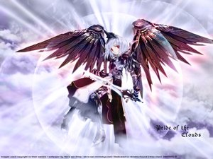 Rating: Safe Score: 68 Tags: armor boots clouds red_eyes short_hair sword weapon white_hair wings User: Oyashiro-sama