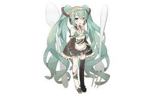 Rating: Safe Score: 68 Tags: apron aqua_hair blue_eyes bow chitetan hatsune_miku headphones long_hair skirt thighhighs twintails vocaloid white User: C4R10Z123GT