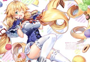Rating: Safe Score: 86 Tags: anthropomorphism azur_lane blonde_hair blush bow braids breasts cake candy cherry chocolate cleavage corset dress food fruit garter_belt gloves green_eyes le_temeraire_(azur_lane) long_hair original ribbons riichu scan thighhighs twintails wink User: BattlequeenYume