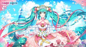 Rating: Safe Score: 37 Tags: applecaramel_(acaramel) aqua_hair bell bow building choker clouds corset dress flowers green_eyes hatsune_miku headdress logo long_hair petals ribbons sky twintails vocaloid User: otaku_emmy