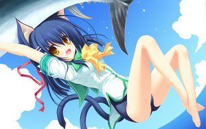Rating: Safe Score: 100 Tags: animal animal_ears bow catgirl fish kiryuu_sakuya mikagami_mamizu multiple_tails neko_koi ribbons swimsuit tail whirlpool yellow_eyes User: SciFi