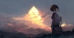 Rating: Safe Score: 99 Tags: brown_hair clouds mifuru original scenic school_uniform short_hair skirt sky User: RyuZU