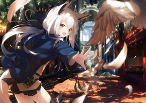 Rating: Safe Score: 125 Tags: animal animal_ears bird blush building city feathers foxgirl long_hair nagishiro_mito original shorts sword tail thighhighs tree weapon yellow_eyes User: RyuZU
