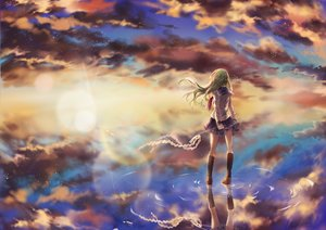 Rating: Safe Score: 58 Tags: clouds kanekiru kneehighs kochiya_sanae ofuda scenic seifuku skirt sky touhou water User: Flandre93