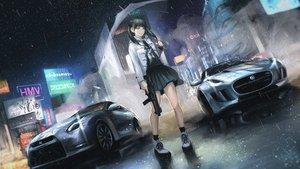 Rating: Safe Score: 233 Tags: black_hair car gun koh_(minagi_kou) open_shirt original rain seifuku skirt twintails umbrella water weapon User: RyuZU