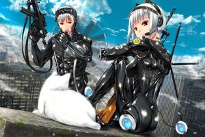 Rating: Safe Score: 59 Tags: animal ano_hito building cat city clouds gun headphones male original red_eyes short_hair sky techgirl weapon white_hair User: BattlequeenYume