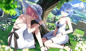 Rating: Safe Score: 95 Tags: 2girls blue_eyes blue_hair dress flowers haribote_(tarao) hat pink_hair ram_(re:zero) red_eyes rem_(re:zero) re:zero_kara_hajimeru_isekai_seikatsu shade short_hair summer_dress tree twins water User: BattlequeenYume