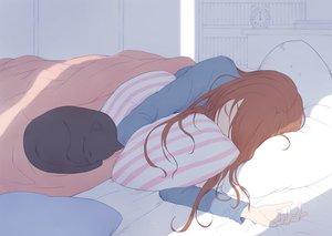 Rating: Safe Score: 68 Tags: animal bed brown_hair cat long_hair original ryuga_(balius) sleeping User: RyuZU