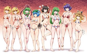 Rating: Safe Score: 55 Tags: aki_minoriko aki_shizuha aliasing barefoot bikini breast_hold breasts cameltoe cleavage gradient group kagiyama_hina kawashiro_nitori kochiya_sanae loli moriya_suwako navel ootsuki_wataru shameimaru_aya swimsuit touhou yasaka_kanako User: FormX