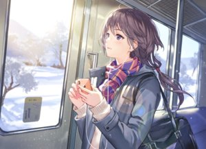Rating: Safe Score: 70 Tags: black_hair blush haru_(hiyori-kohal) headphones original phone ponytail purple_eyes scarf school_uniform snow train tree winter User: RyuZU
