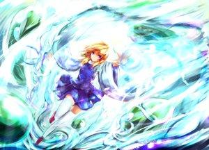 Rating: Safe Score: 68 Tags: blonde_hair blue_eyes moriya_suwako necklace sakura_ani short_hair skirt thighhighs touhou water User: 7hatGuy