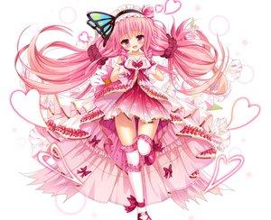 Rating: Safe Score: 33 Tags: anthropomorphism bettle_(b_s_a_n) blush bow cropped dress flower_knight_girl flowers gloves hanamomo_(flower_knight_girl) headdress heart lolita_fashion long_hair pink_hair purple_eyes thighhighs white zettai_ryouiki User: otaku_emmy