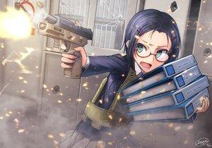 Rating: Safe Score: 55 Tags: blue_hair book dreadtie glasses green_eyes gun original school_uniform short_hair signed skirt weapon User: RyuZU