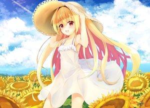 Rating: Safe Score: 114 Tags: aliasing blonde_hair blush clouds dress flowers hat irotoridori_no_sekai long_hair minari_(minari37) nikaidou_shinku red_eyes signed summer summer_dress sunflower User: FormX