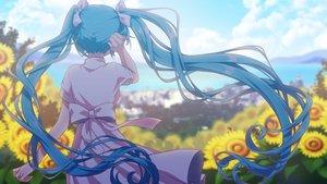 Rating: Safe Score: 76 Tags: aqua_hair bow clouds dress flowers hatsune_miku long_hair matsuda_toki summer_dress sunflower twintails vocaloid User: FormX
