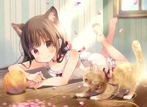 Rating: Safe Score: 81 Tags: animal ass barefoot bloomers blush brown_eyes brown_hair cat dress kuga_tsukasa loli long_hair original petals User: BattlequeenYume