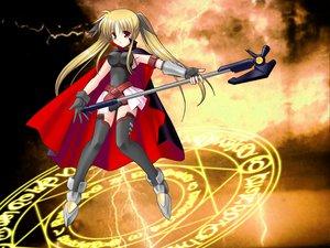 Rating: Safe Score: 18 Tags: blonde_hair cape fate_testarossa gloves long_hair magic mahou_shoujo_lyrical_nanoha red_eyes staff thighhighs twintails User: Oyashiro-sama