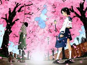 Rating: Safe Score: 17 Tags: black_hair cherry_blossoms clouds flowers hanging itoshiki_nozomu petals sayonara_zetsubou_sensei school_uniform short_hair skirt sky socks tree User: 秀悟