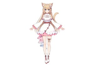 Rating: Safe Score: 60 Tags: animal_ears aqua_eyes blonde_hair blush boots braids catgirl chinese_clothes dress garter hanazono_serena hanazono_serena_(channel) long_hair muryou tail white User: otaku_emmy