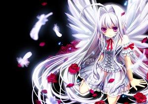 Rating: Safe Score: 202 Tags: angel bow dress feathers flowers lolita_fashion long_hair original purple_eyes rose tamarashi white_hair wings User: opai