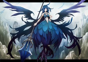 Rating: Safe Score: 76 Tags: blue_eyes blue_hair breasts choker cleavage jpeg_artifacts long_hair navel original pixiv_fantasia sachi staff wings User: anaraquelk02