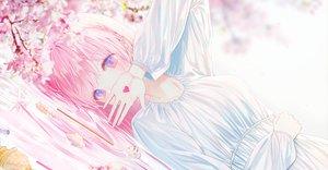 Rating: Safe Score: 57 Tags: aqua_eyes braids cherry_blossoms flowers lium long_hair original pink_hair water User: BattlequeenYume