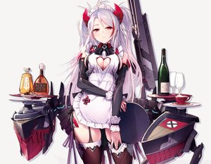 Rating: Safe Score: 69 Tags: anthropomorphism apron azumi_akitake azur_lane breasts cleavage cropped drink garter_belt headdress long_hair maid photoshop prinz_eugen_(azur_lane) red_eyes thighhighs twintails weapon white white_hair User: Nepcoheart