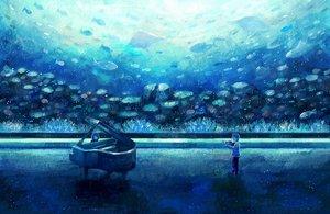 Rating: Safe Score: 77 Tags: animal fish instrument nomiya_(no_38) original piano underwater violin water User: FormX
