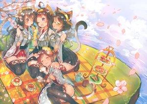 Rating: Safe Score: 87 Tags: animal_ears anthropomorphism catgirl cherry_blossoms drink flowers food glasses gloves group haruna_(kancolle) headband hiei_(kancolle) japanese_clothes kantai_collection kirishima_(kancolle) kongou_(kancolle) miko petals suzuho_hotaru tail thighhighs wink zettai_ryouiki User: FormX