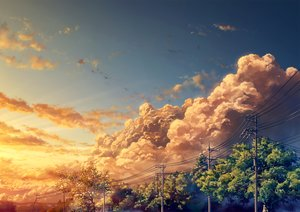 Rating: Safe Score: 76 Tags: clouds forest nobody original scenic sky sunset tree yuu_knmy User: RyuZU