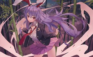 Rating: Safe Score: 53 Tags: animal_ears bunny_ears bunnygirl forest long_hair maachi_(fsam4547) purple_eyes purple_hair reisen_udongein_inaba skirt skirt_lift tie touhou tree User: RyuZU